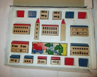 Vintage Haba Stadtbaukasten Town or City Wooden Blocks