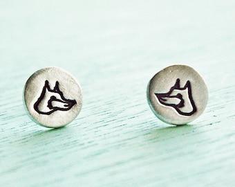 Silver FOX stud earrings, sterling silver earrings studs, gift for women, small stud earrings for girls, cute fox earrings, earring studs