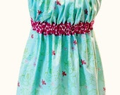 Ladies Apron with 70's Style - one size fits most - lime green, robin's egg blue, magenta