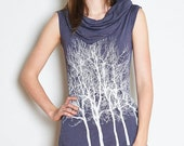 Fairytale Trees Tunic Cowl in Slate Grey
