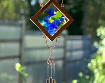 Wind Chime Beach Glass Copper Windchime Suncatcher Brass Chimes