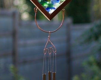 Wind Chime Beach Glass Cedar Copper Windchime Suncatcher