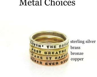 Personalized Ring, Custom Hand Stamped Ring in your choice of sterling silver, copper, bronze, brass, aka Smooth Like Butter Posey Rings