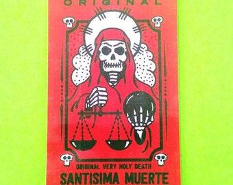 Santisima Muerte Vintage Label Series Most Holy Death Grim Reaper Pink Skull Vinyl Sticker