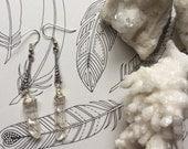 Angel Aura Quartz with Silver Dangle Earrings