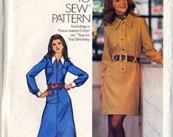 Simplicity 5149 Misses Shirtwaist Dress 70s Vintage Sewing Pattern Size 12 Bust 34 Uncut Maxi or Above Knee