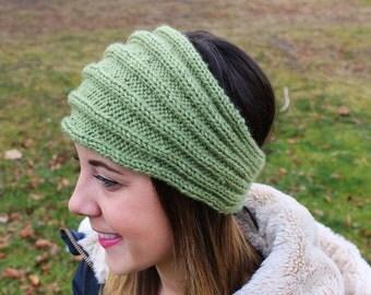Green Knit Vegan Headband - Panta Finnish Headband - Ear Warmers - Boho Headband - Winter Hair Accessory - Womens Gift - Gift for Her