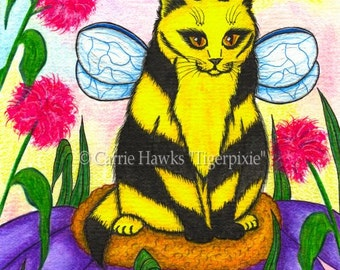 Cat Fairy Painting Bumble Bee Fairy Cat Art Winged Cat Fantasy Cat Art Print 8x10 Cat Lovers Art