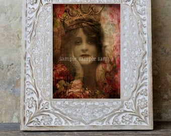Fine Art Print - Mixed Media - Altered Art Watercolor Painting  - Home Decor - Digital Art - Portrait