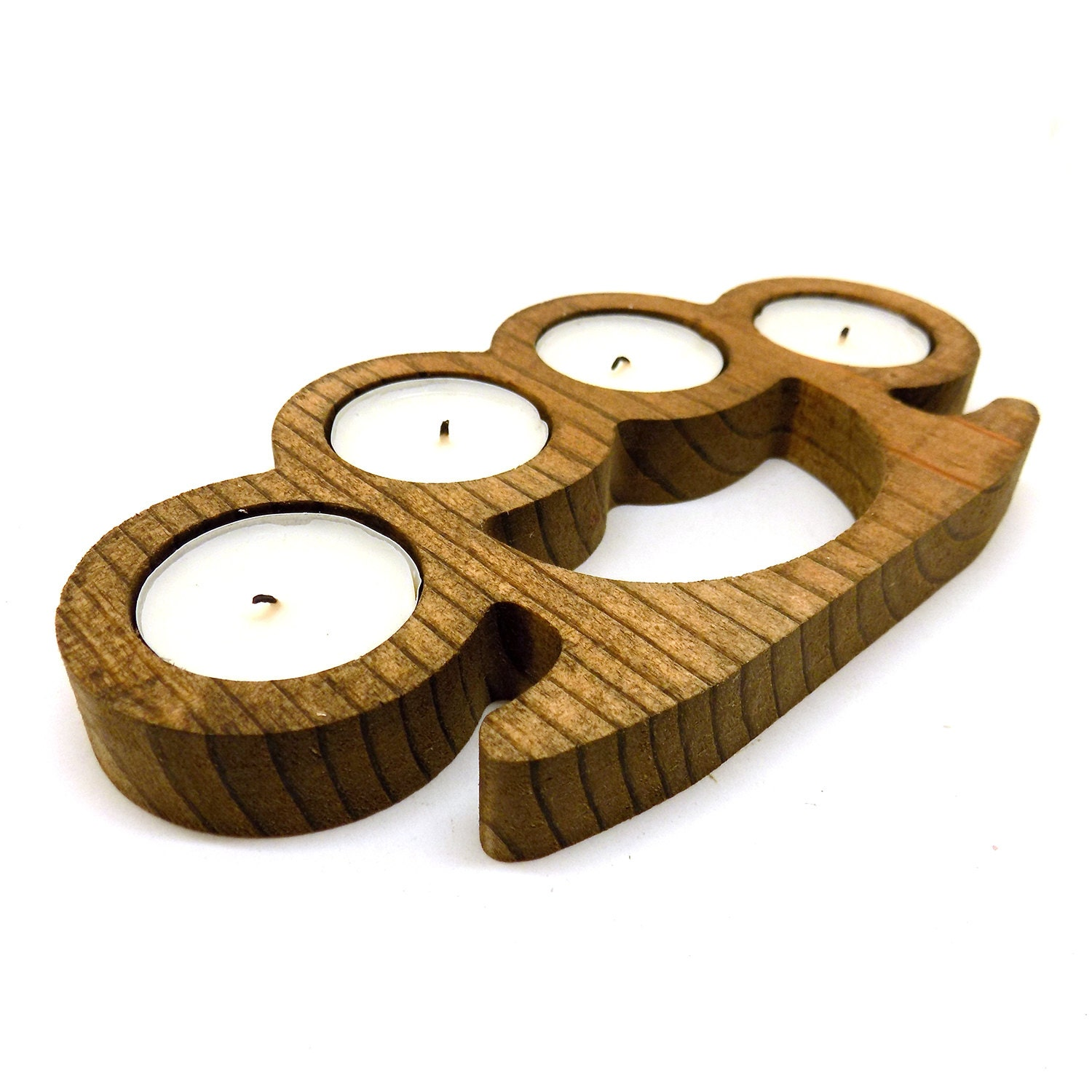 Wood Knuckles Candle Holder Brass Knuckle Vintage Weapon