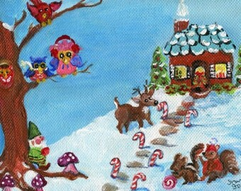Winter woodland animals. Gnomes, Holiday dressed owls, reindeer, squirrels original 5 x 7 acrylic painting canvas art, Christmas home decor