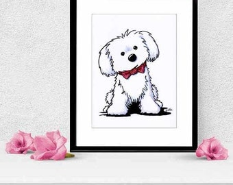 Framed & Matted Original Maltese Glamour Dog Art Illustration