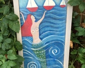 Mermaid Original  painting by Rose Walton with shabby chic frame