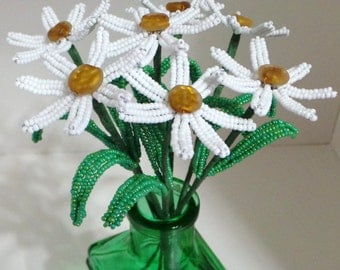 French Beaded Flowers Daisies in Green Vase