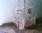 Pink Shimmer Earrings, Vintage Embroidery, Beaded, Large Earrings,Sparkle, Boho Earrings, Pretty, Dangle Earrings