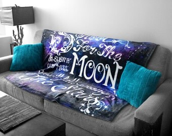 "Shoot For the Moon SOFT and Cuddly Sherpa Fleece THROW BLANKET 51"" X 60"""