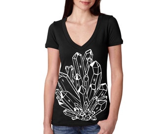 L,XL - Black Deep V-Neck Tee with Crystal Screen Print