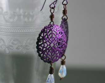 Handpainted Pearlescent Magenta Purple Pink Filigree Oval Antiqued Brass Earrings with Opal Glass Crystal Teardrops