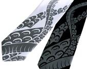 Sucker Necktie. Octopus Tentacle tie. Screen printed men's necktie. Choose black or white tie; narrow or standard size.