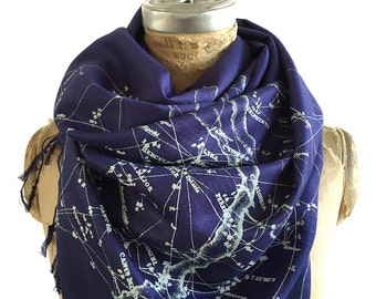 Constellation Print Scarf. Night Sky linen weave pashmina. Galaxy design, ice blue star print on navy blue & more. For men or women.