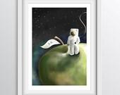 Nursery Decor - Alphabet Art Print - A - Astronaut on an Apple - A4 fine art print