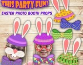 Easter Party Photo Booth Props, Party Printables, Printable Party Props, Party Decor, Easter Printables, You Print and Cut Party Printables