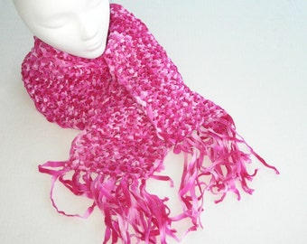 Pink Knit Scarf with Fringe, Bright Pink