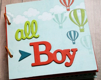 "Pre-made 6"" x 6"" 16-page All Boy Scrapbook Album, Birthday, Gift, Fun, Memory, Picture Book, Child, Family, Son, Grandson, Boys will be Boys"