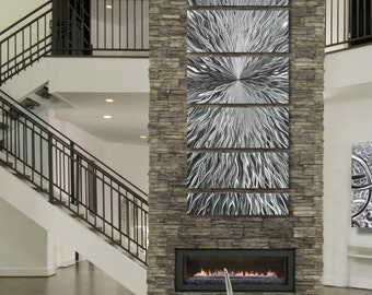 Large Multi Panel Modern Metal Wall Art Sculpture In Silver, Contemporary Metal  Wall