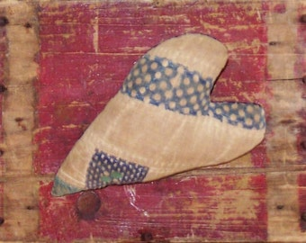 Primitive Quilt Heart, Farmhouse Christmas Ornament, Whimsical Stuffed Heart Rustic Heart Cottage Decor, Blue White Polkadot, READY TO SHIP