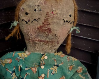 VERY Primitive, EXTREMELY Primitive, Raggedy Ann, Vintage, Antique, Old Cloth, Rag Doll by Mustard Seed Originals TeamHAHA, Hafair