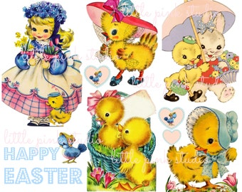 Easter Chicks DIGITAL collage sheet, instant download, printable collage sheet