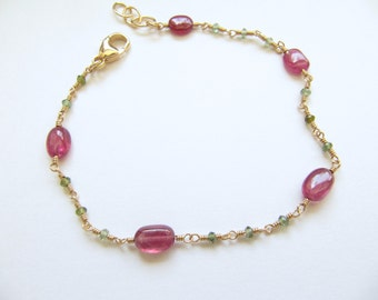 Ruby and Green tourmaline Wire Wrapped Bracelet