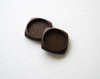 Artisan finished carved hardwood bezels - Walnut - 30 mm - (F23c-W) - Set of 2