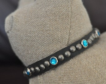 Black Leather Cat Collar with Round Nickel and Blue Crystal Rivets (The Bridgie)