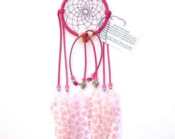 Hot Pink Dream Catcher, Printed Hearts Goose Shoulder Feathers