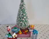 6 Inch Miniature Vintage Look Christmas Tree with Bead Ornaments, Snow and Sparkling Mica Flakes Shabby Country Christmas Decorations