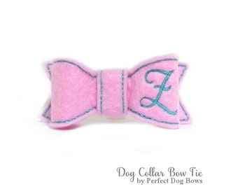 Pink Dog Collar Bow Tie, Personalized Dog Bow Tie, Dog Bowtie, Harness Collar Bow