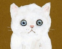 """Broken Hearted Kitten Doesn't Know There's More Food in the Bowl 5"""" x 7"""" Print"""