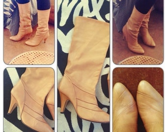 Gloria Vanderbilt Vintage tall Tan Leather heeled Boots - Vintage 80s boots size 10 fits size 9-9.5M