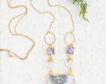 Raw Amethyst Necklace, Raw Amethyst Crystal Necklace, Raw crystal necklace, Long Bohemian Necklace, Amethyst Jewelry, Amethyst Slice