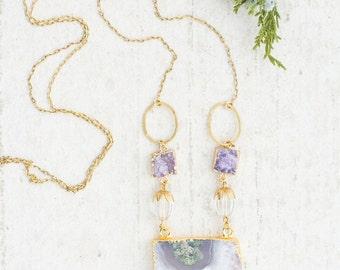 Long Amethyst Gemstone Necklace, Gift for her, Gemstone Necklace Gift, Amethyst Slice Necklace, Druzy Statement Gemstone Necklace