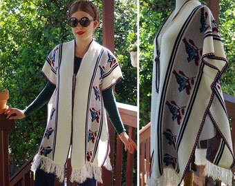 Blue BIRDS 1960's 70's Vintage Cream White Striped Woven Peruvian Cape Poncho with Fringe // One Size