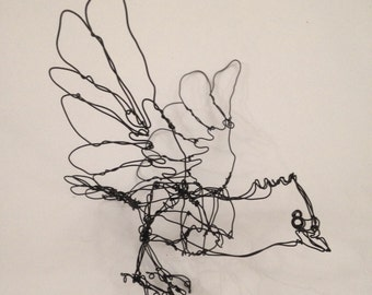 SALE-Small Black Crested Bird-Wire Drawing Sculpture