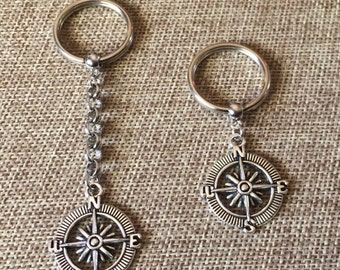Compass Keychain - Silver Compass Key Chain - Mens Keychains - Compass Zipper Pull