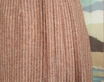 Vintage Brown Striped Wrap Skirt XS S