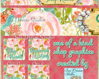 Watercolor Floral Dream shop Banner and Avatar by Sea Dream Studio  OOAK