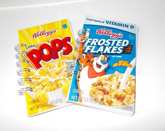 Upcycled Recycled Mini Cereal box Notepads-Notebooks-Set of 2