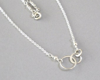 Sterling Silver Circles of Life Necklace Irregular Trio of Graduated Size Circle Chain Bead DJStrang Minimalist Boho Chic Zen