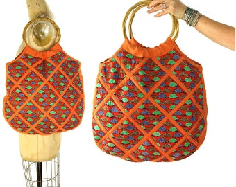 70s Turtle Purse / Vintage 1970s Large Quilted Cotton Tote / Hippie Boho Novelty Print Bag / Bamboo Handles / Soft Hobo / Vegan Fabric Bag